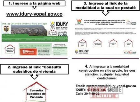 IDURY PUBLIC� EL LISTADO DE LAS FAMILIAS HABILITADAS PARA SUBSIDIO DE CONSTRUCCI�N EN SITIO PROPIO