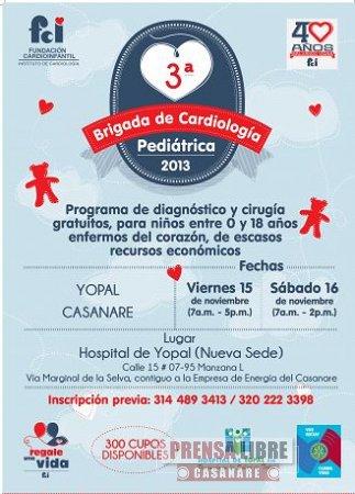 TERCERA JORNADA DE CARDIOLOGÍA PEDIÁTRICA REALIZARÁ EN YOPAL LA FUNDACIÓN CARDIOINFANTIL