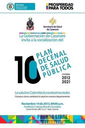 HOY LANZAMIENTO DEL PLAN DECENAL DE SALUD PÚBLICA DE CASANARE