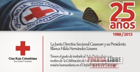 CRUZ ROJA COLOMBIANA SECCIONAL CASANARE CELEBRA 25 AÑOS DE SERVICIO SOCIAL