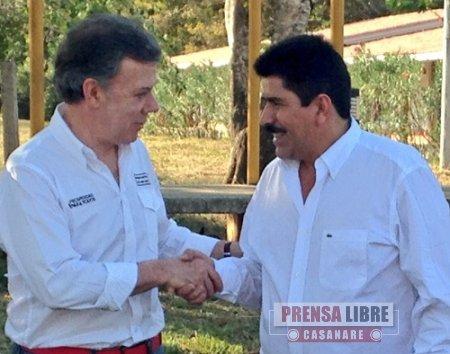 Gobernador Marco Tulio Ruíz solicitó recursos al Presidente Santos para 4 proyectos