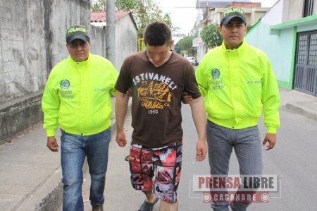 Delincuente juvenil de la Comuna V de Yopal fue detenido por las autoridades