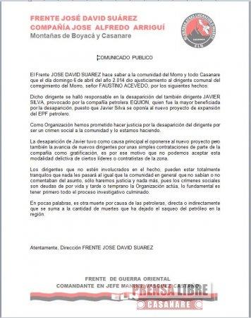 ELN se atribuyó asesinato de Faustino Acevedo